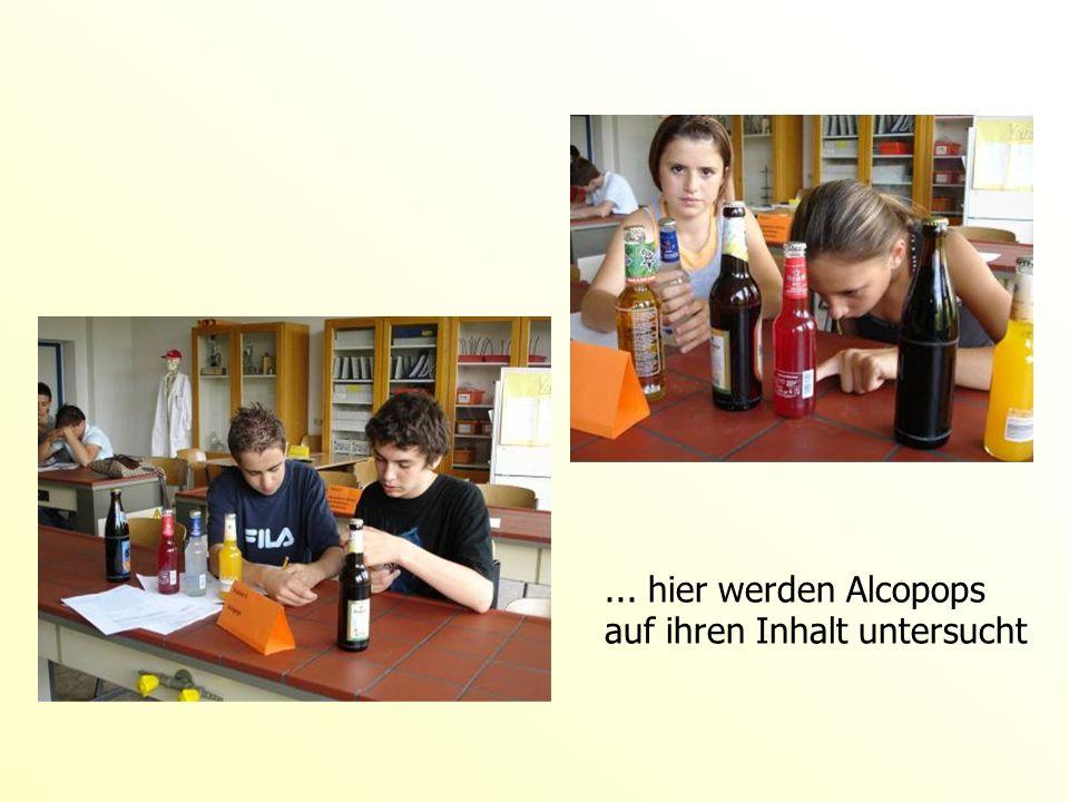 ... hier werden Alcopops auf ihren Inhalt untersucht