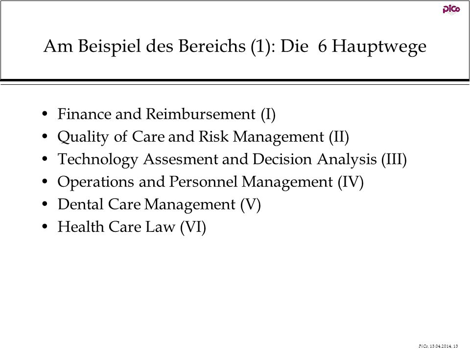 PiCo, 13.04.2014, 13 Am Beispiel des Bereichs (1): Die 6 Hauptwege Finance and Reimbursement (I) Quality of Care and Risk Management (II) Technology A