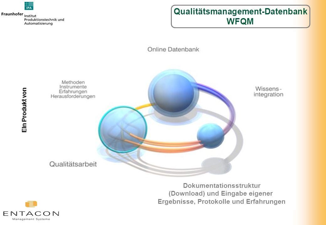 Dokumentationsstruktur (Download) und Eingabe eigener Ergebnisse, Protokolle und Erfahrungen Ein Produkt von Qualitätsmanagement-Datenbank WFQM