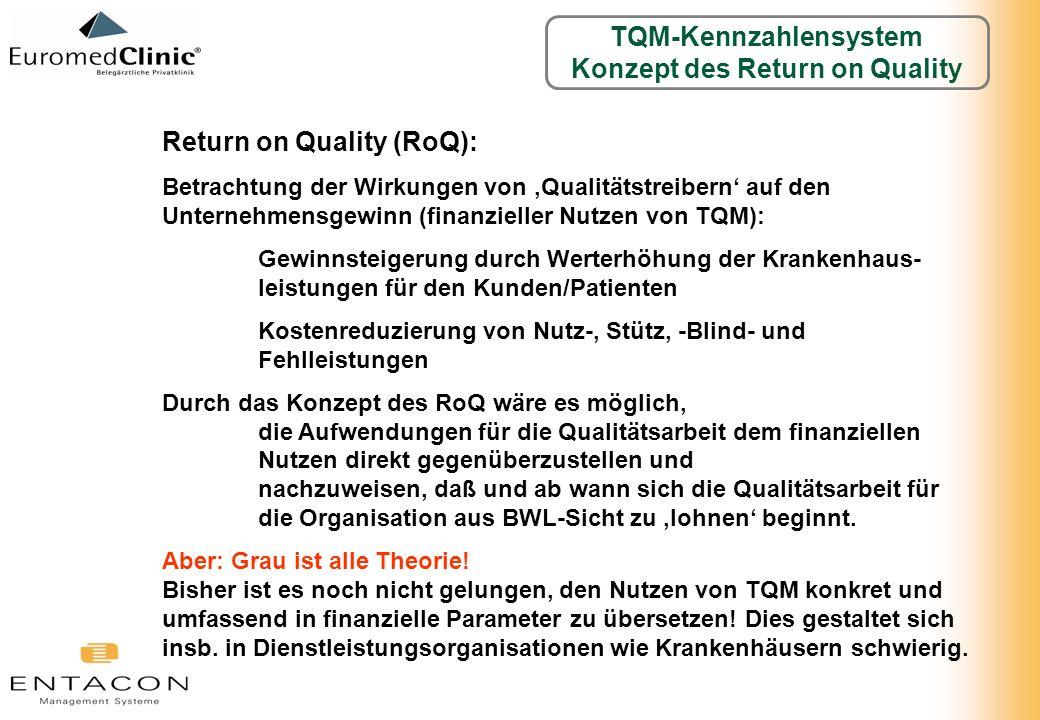 Return on Quality (RoQ): Betrachtung der Wirkungen von Qualitätstreibern auf den Unternehmensgewinn (finanzieller Nutzen von TQM): Gewinnsteigerung du