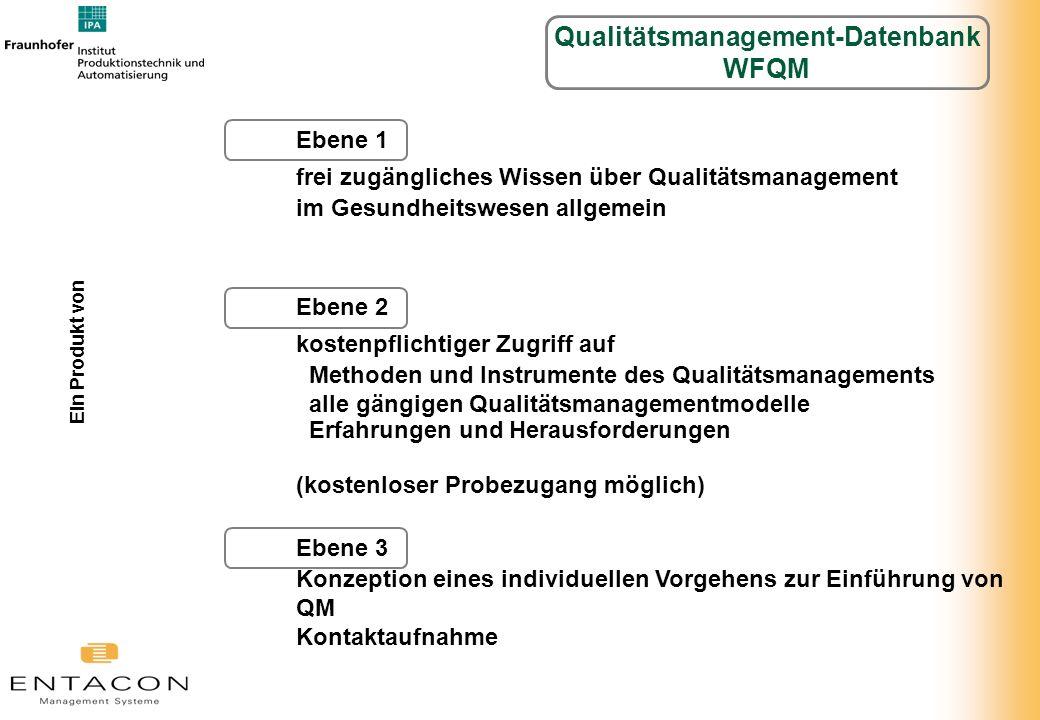 Ebene 1 frei zugängliches Wissen über Qualitätsmanagement im Gesundheitswesen allgemein Ebene 2 kostenpflichtiger Zugriff auf Methoden und Instrumente