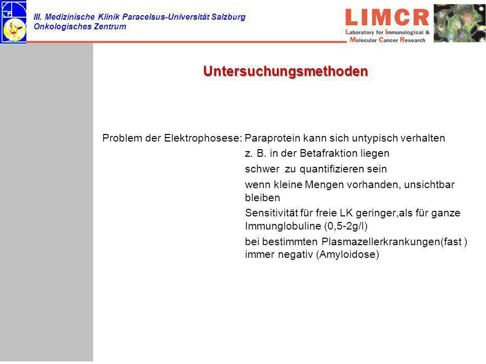 III. Medizinische Klinik Paracelsus-Universität Salzburg Onkologisches Zentrum Untersuchungsmethoden Problem der Elektrophosese: Paraprotein kann sich