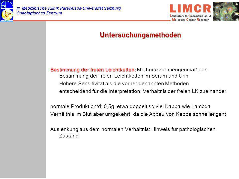 III. Medizinische Klinik Paracelsus-Universität Salzburg Onkologisches Zentrum Untersuchungsmethoden Bestimmung der freien Leichtketten: Bestimmung de