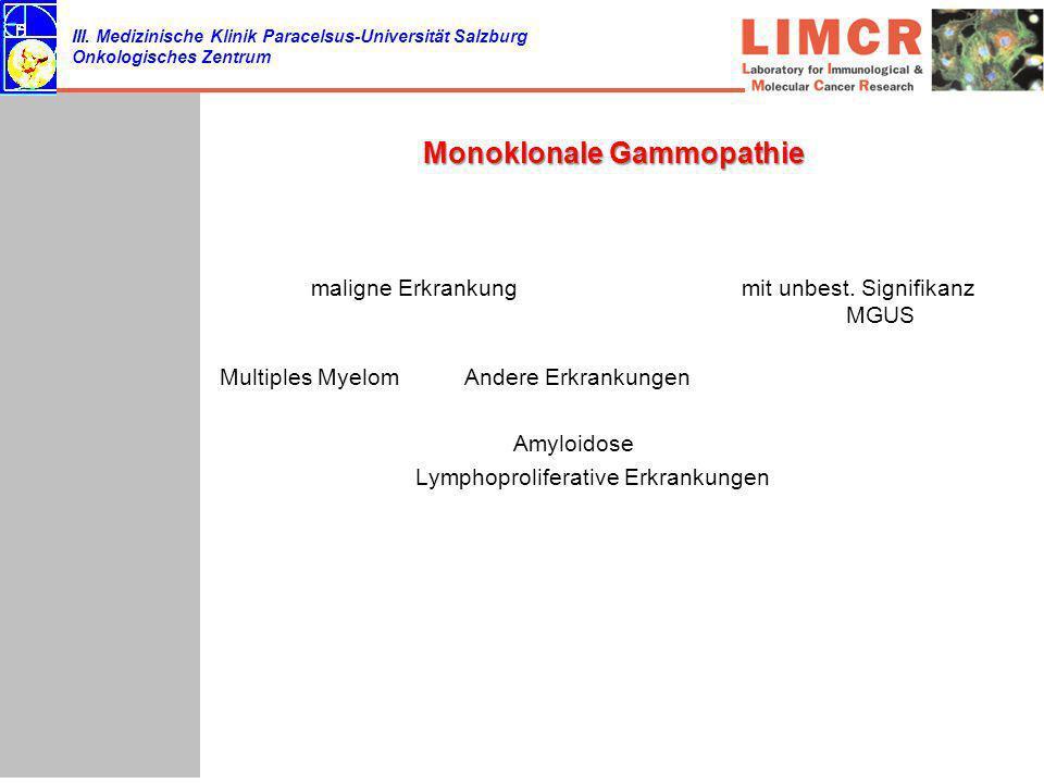 III. Medizinische Klinik Paracelsus-Universität Salzburg Onkologisches Zentrum Monoklonale Gammopathie maligne Erkrankungmit unbest. Signifikanz MGUS