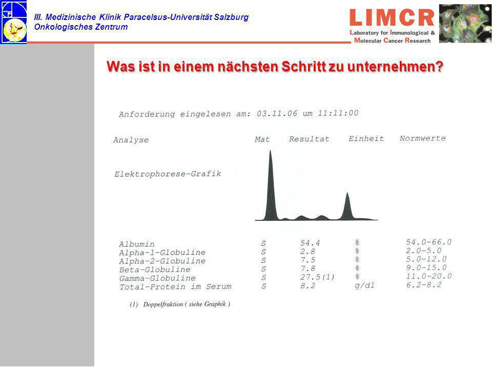 III. Medizinische Klinik Paracelsus-Universität Salzburg Onkologisches Zentrum Was ist in einem nächsten Schritt zu unternehmen?