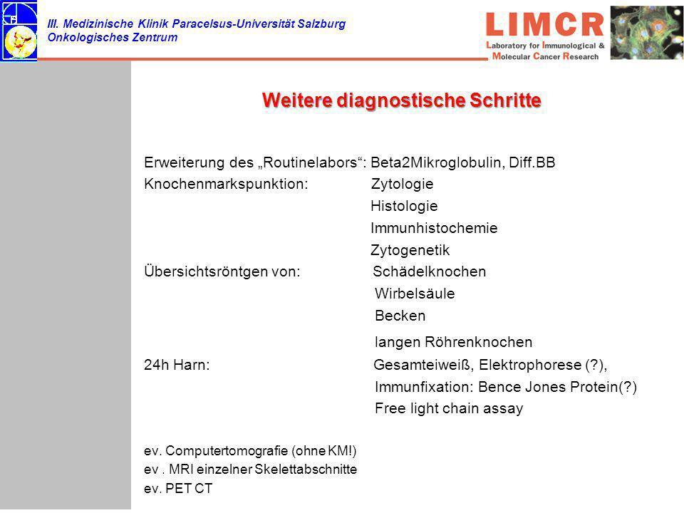 III. Medizinische Klinik Paracelsus-Universität Salzburg Onkologisches Zentrum Weitere diagnostische Schritte Erweiterung des Routinelabors: Beta2Mikr