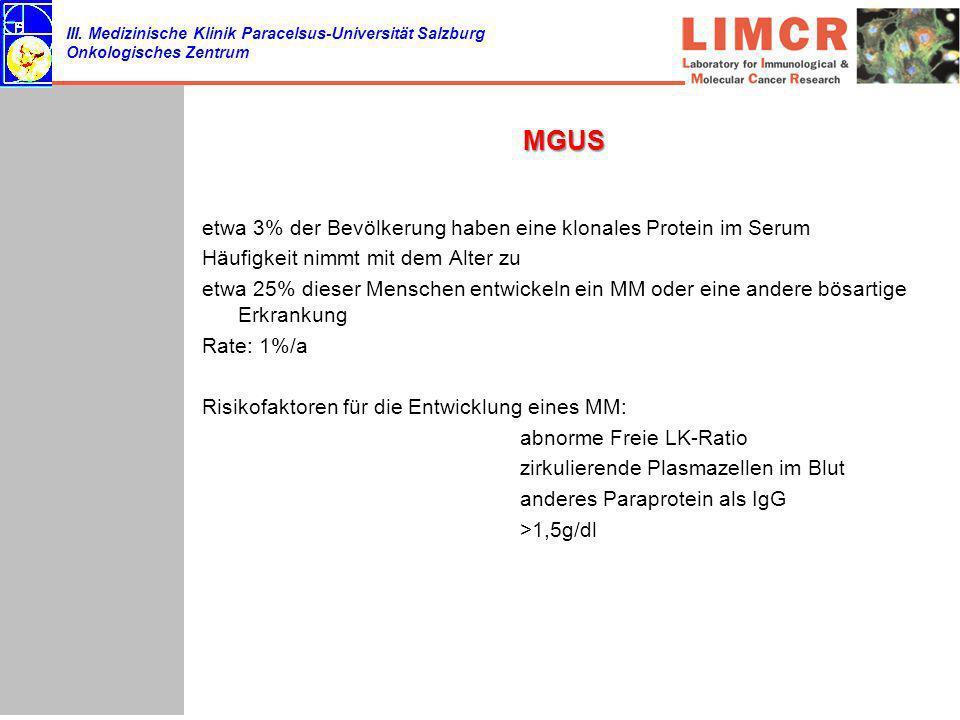 III. Medizinische Klinik Paracelsus-Universität Salzburg Onkologisches Zentrum MGUS etwa 3% der Bevölkerung haben eine klonales Protein im Serum Häufi