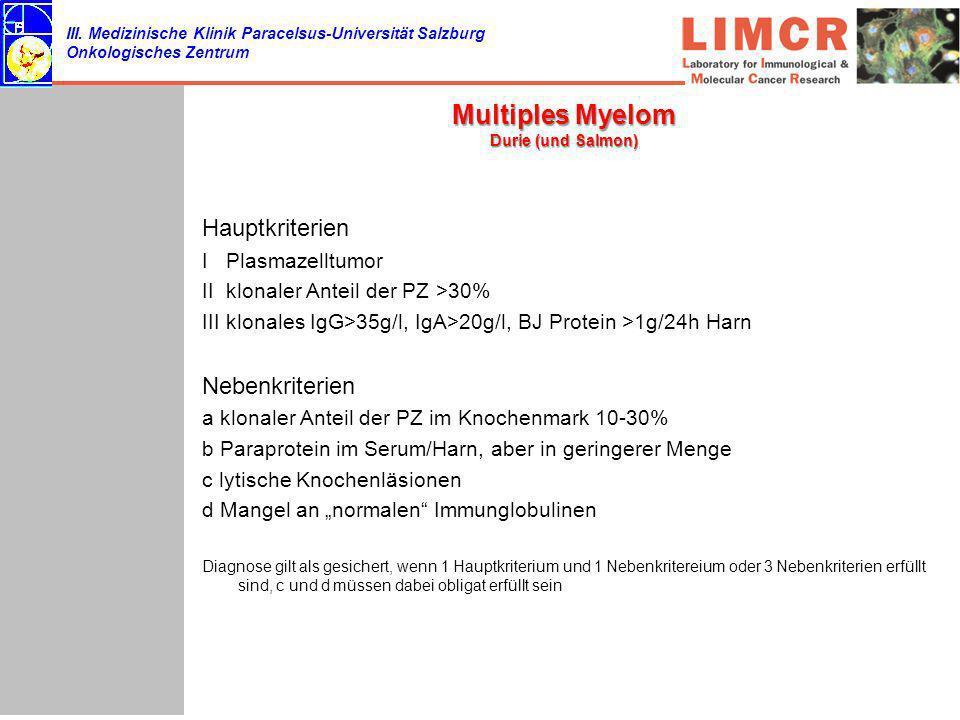 III. Medizinische Klinik Paracelsus-Universität Salzburg Onkologisches Zentrum Multiples Myelom Durie (und Salmon) Hauptkriterien I Plasmazelltumor II
