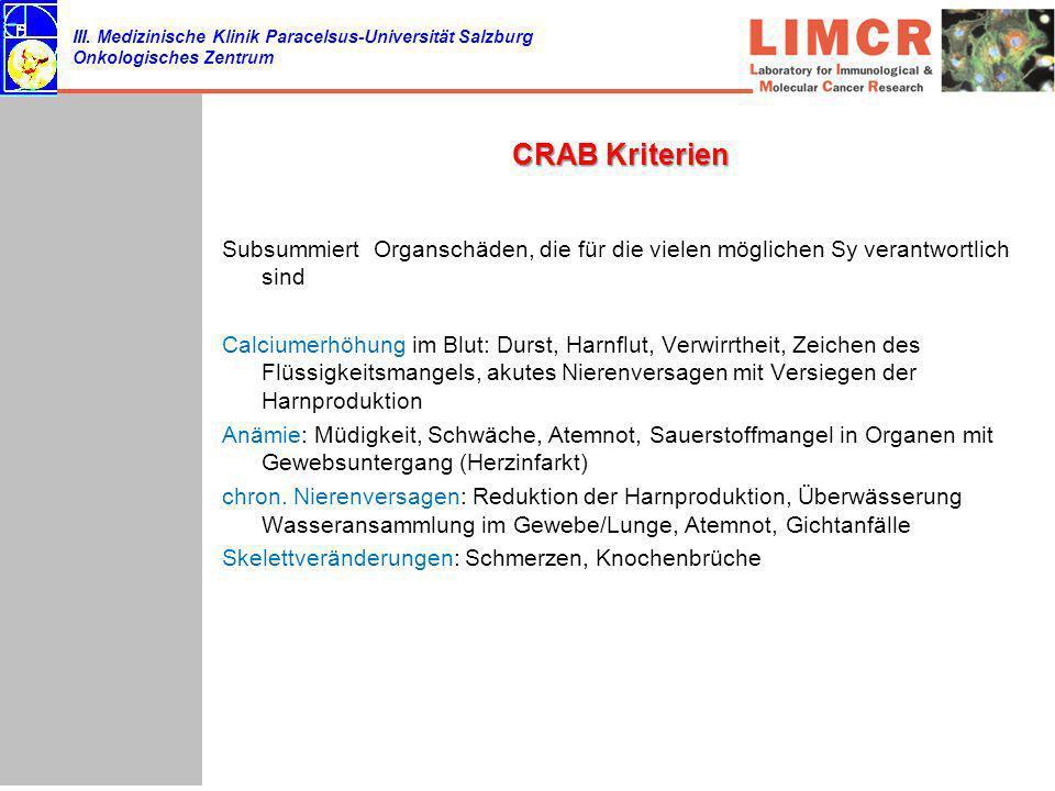 III. Medizinische Klinik Paracelsus-Universität Salzburg Onkologisches Zentrum CRAB Kriterien Subsummiert Organschäden, die für die vielen möglichen S