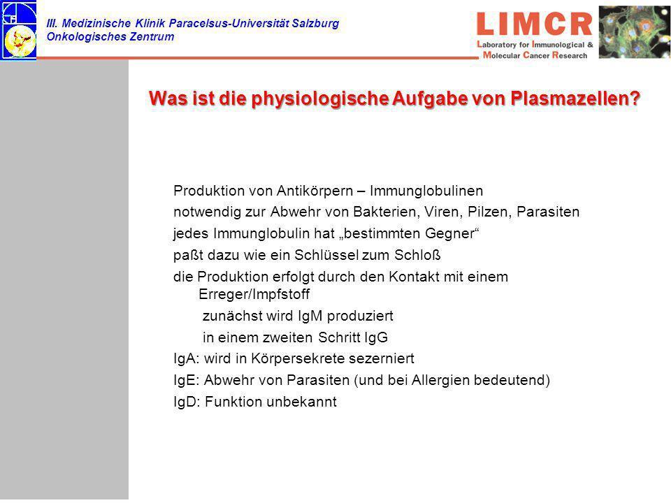 III. Medizinische Klinik Paracelsus-Universität Salzburg Onkologisches Zentrum Was ist die physiologische Aufgabe von Plasmazellen? Produktion von Ant