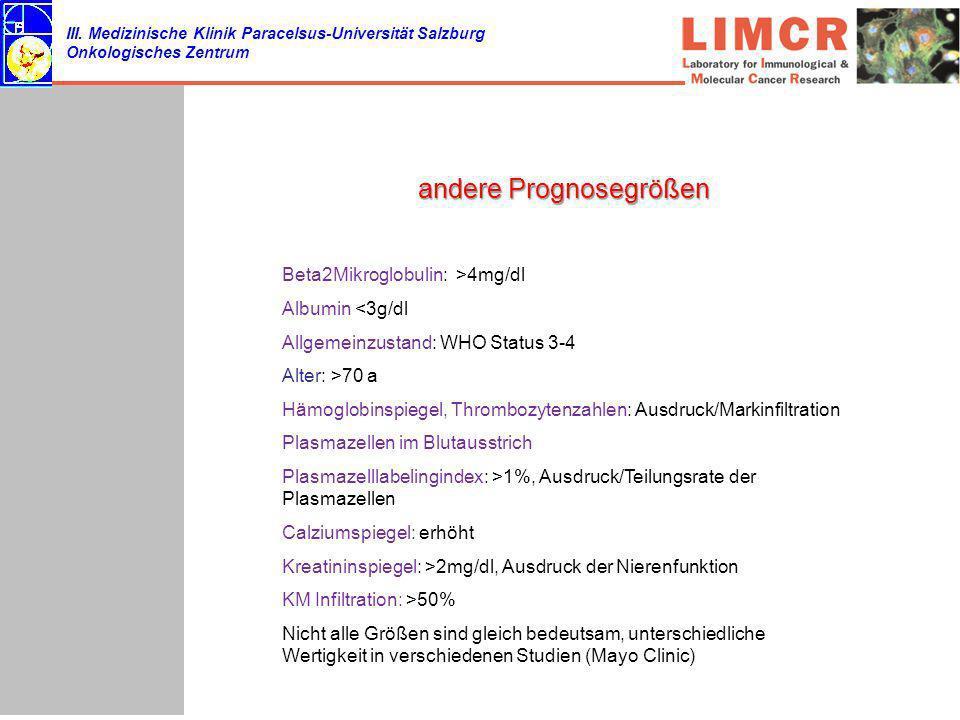 III. Medizinische Klinik Paracelsus-Universität Salzburg Onkologisches Zentrum andere Prognosegrößen Beta2Mikroglobulin: >4mg/dl Albumin <3g/dl Allgem