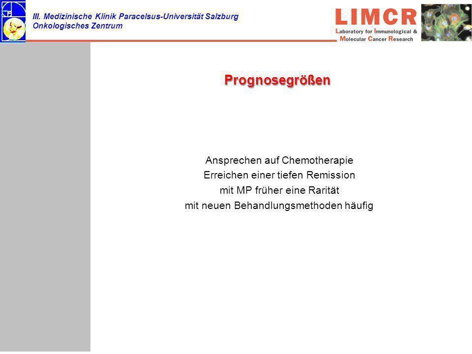 III. Medizinische Klinik Paracelsus-Universität Salzburg Onkologisches Zentrum Prognosegrößen Ansprechen auf Chemotherapie Erreichen einer tiefen Remi