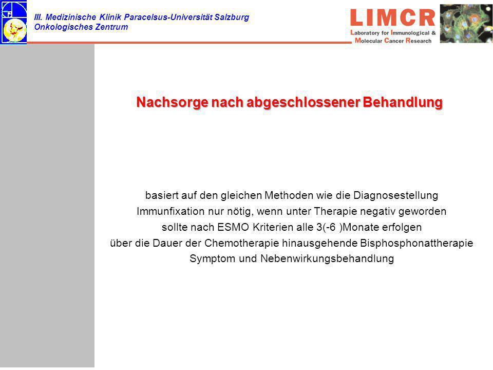 III. Medizinische Klinik Paracelsus-Universität Salzburg Onkologisches Zentrum Nachsorge nach abgeschlossener Behandlung basiert auf den gleichen Meth