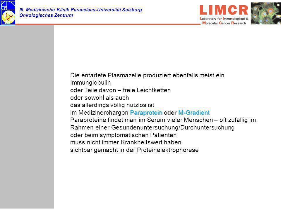 III. Medizinische Klinik Paracelsus-Universität Salzburg Onkologisches Zentrum Die entartete Plasmazelle produziert ebenfalls meist ein Immunglobulin