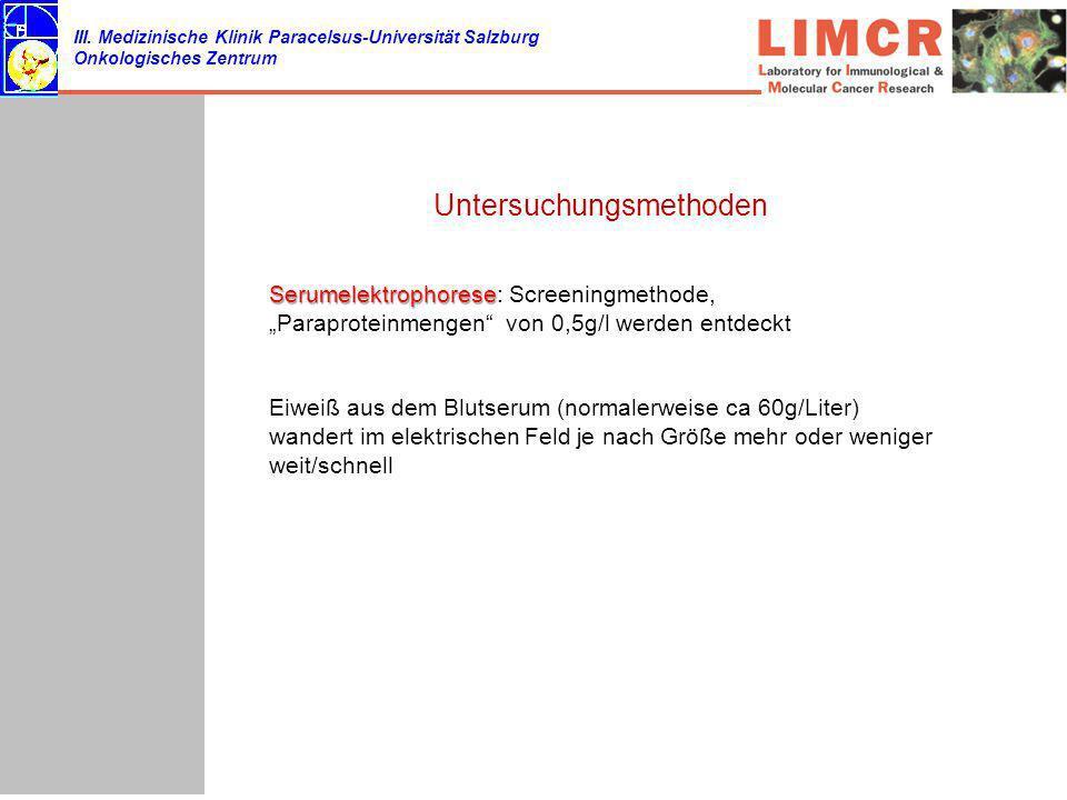 III. Medizinische Klinik Paracelsus-Universität Salzburg Onkologisches Zentrum Untersuchungsmethoden Serumelektrophorese Serumelektrophorese: Screenin