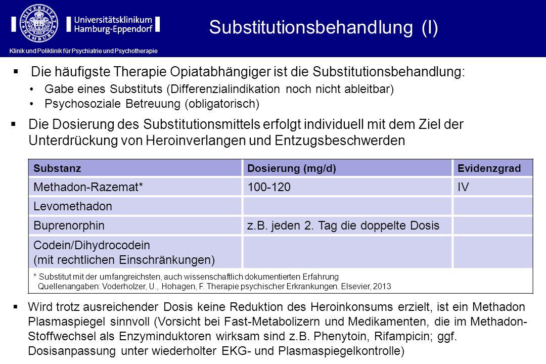 Klinik und Poliklinik für Psychiatrie und Psychotherapie Substitutionsbehandlung (I) Gabe eines Substituts (Differenzialindikation noch nicht ableitba