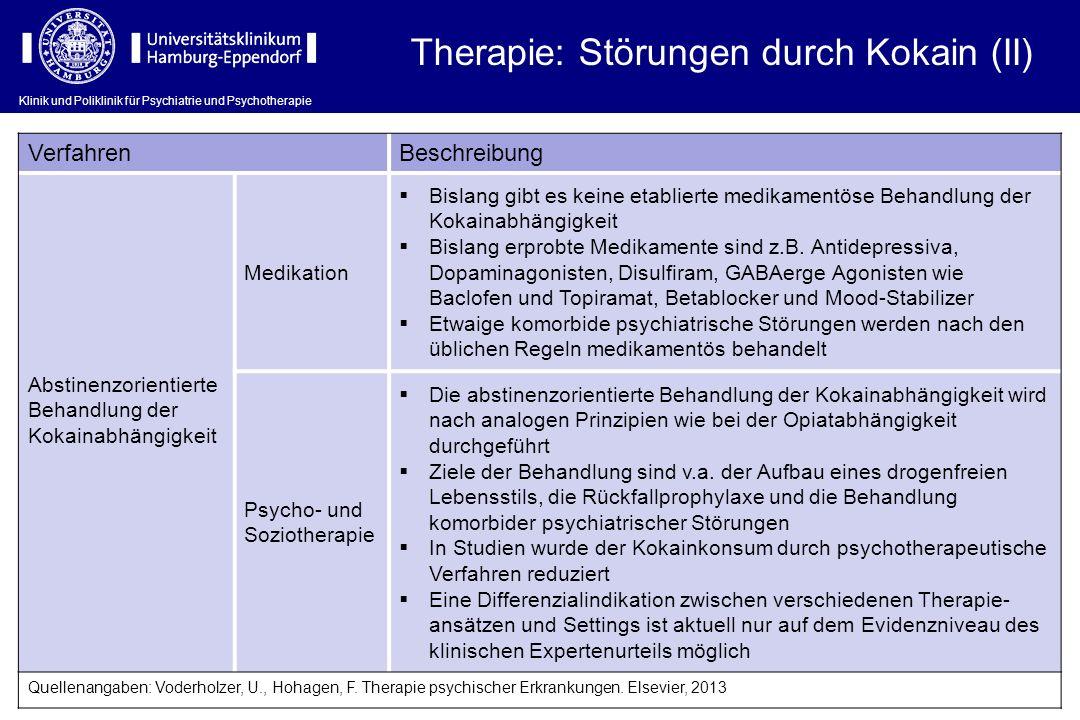 Klinik und Poliklinik für Psychiatrie und Psychotherapie VerfahrenBeschreibung Abstinenzorientierte Behandlung der Kokainabhängigkeit Medikation Bisla