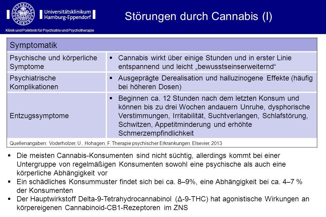 Störungen durch Cannabis (I) Symptomatik Psychische und körperliche Symptome Cannabis wirkt über einige Stunden und in erster Linie entspannend und le