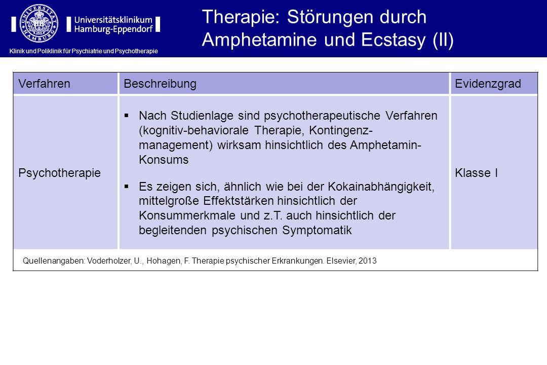 Klinik und Poliklinik für Psychiatrie und Psychotherapie VerfahrenBeschreibungEvidenzgrad Psychotherapie Nach Studienlage sind psychotherapeutische Ve