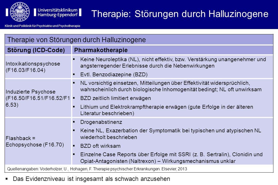 Klinik und Poliklinik für Psychiatrie und Psychotherapie Therapie: Störungen durch Halluzinogene Therapie von Störungen durch Halluzinogene Störung (I