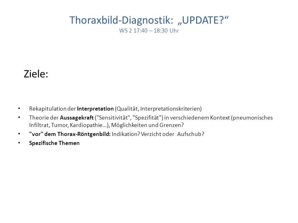 Thoraxbild-Diagnostik: UPDATE? WS 2 17:40 – 18:30 Uhr Ziele: Rekapitulation der Interpretation (Qualität, Interpretationskriterien) Theorie der Aussag