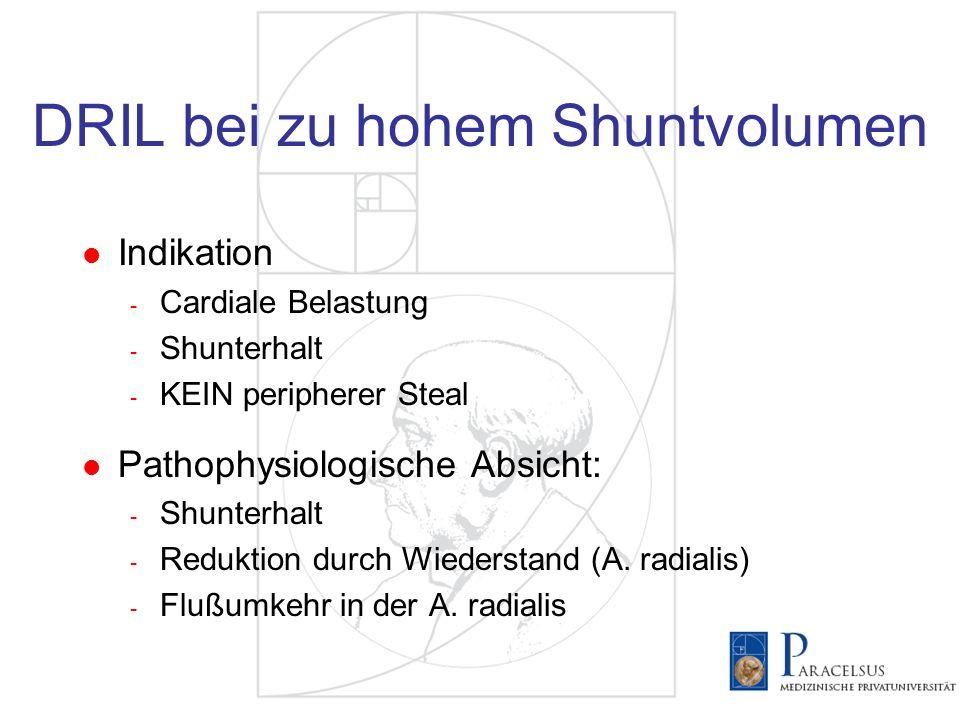 DRIL bei zu hohem Shuntvolumen Indikation - Cardiale Belastung - Shunterhalt - KEIN peripherer Steal Pathophysiologische Absicht: - Shunterhalt - Redu