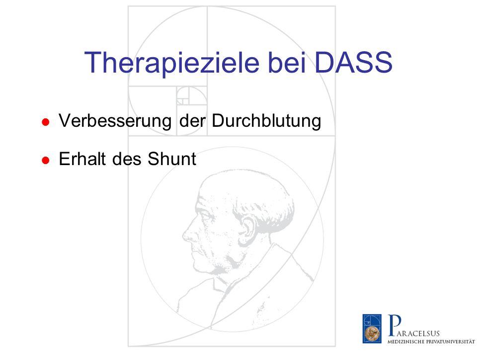 Therapiekonzepte bei DASS Ligatur Behandlung von Inflowstenosen/Verschlüssen Shuntflowreduktion (Banding) 1 Proximalisierung der Anastomose (PAI) 2 Revision Using Distal Inflow (RUDI) 3 Distal Revascularization Interval Ligation (DRIL) 4 1.