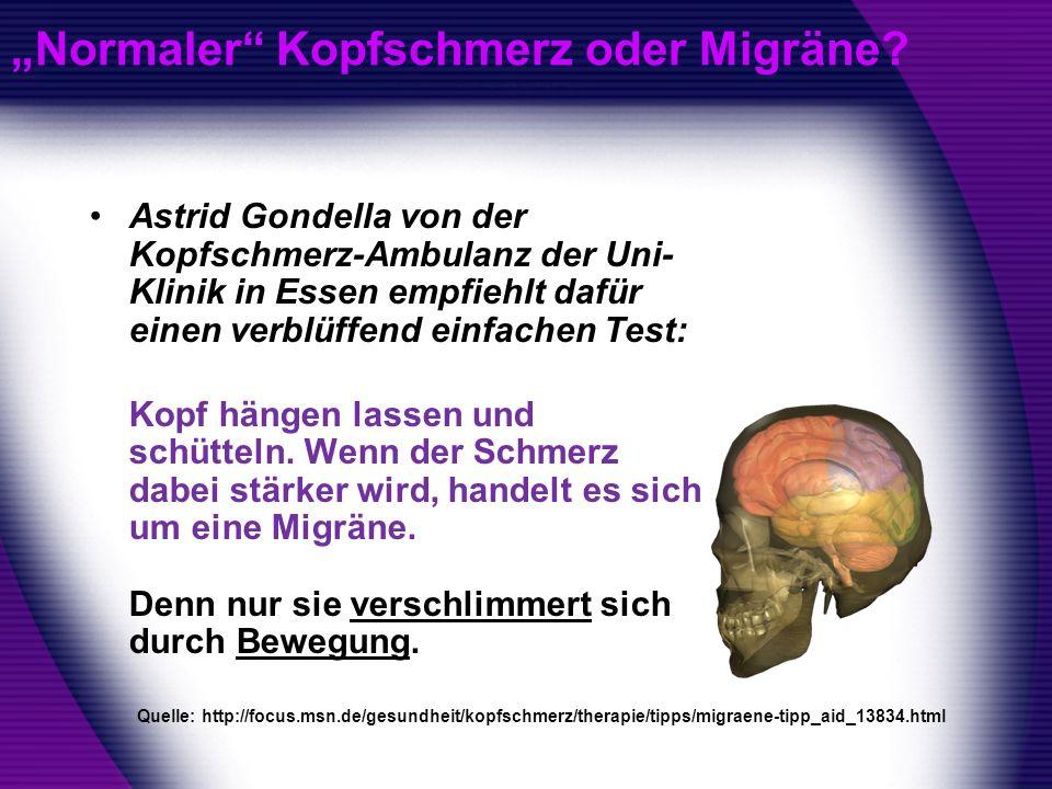 Normaler Kopfschmerz oder Migräne? Astrid Gondella von der Kopfschmerz-Ambulanz der Uni- Klinik in Essen empfiehlt dafür einen verblüffend einfachen T