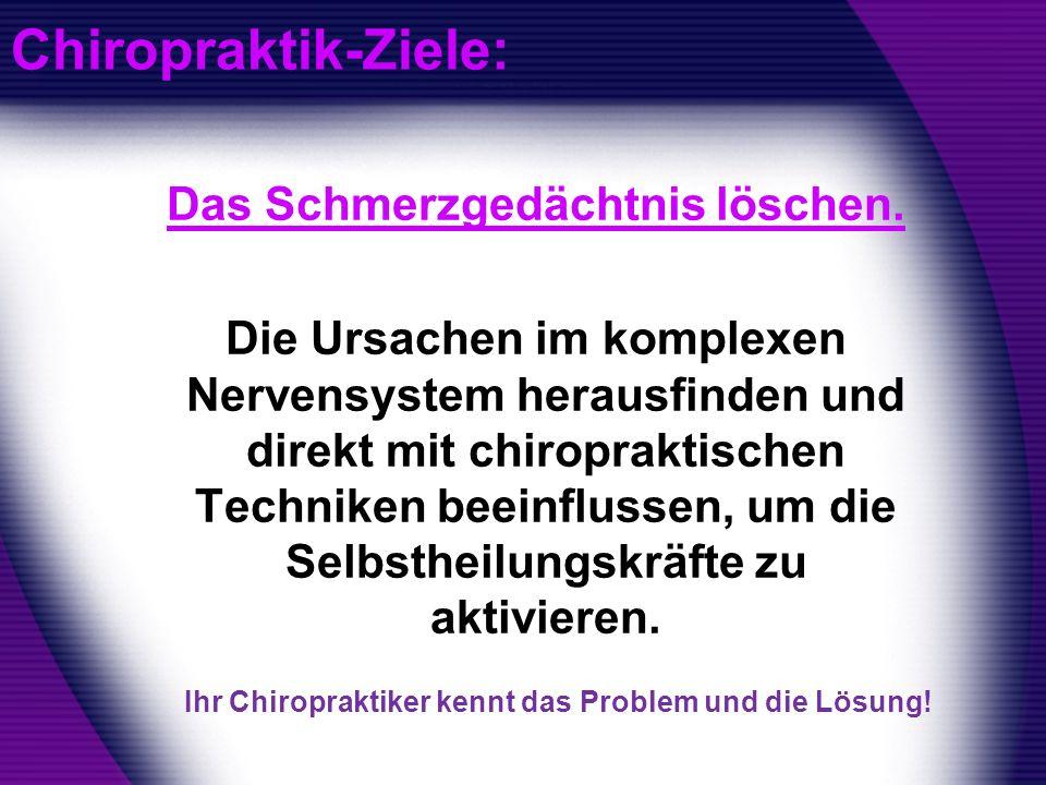 Chiropraktik-Ziele: Das Schmerzgedächtnis löschen. Die Ursachen im komplexen Nervensystem herausfinden und direkt mit chiropraktischen Techniken beein