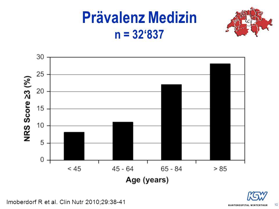 10 Prävalenz Medizin n = 32837 Imoberdorf R et al. Clin Nutr 2010;29:38-41