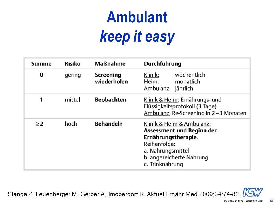 16 Ambulant keep it easy Stanga Z, Leuenberger M, Gerber A, Imoberdorf R. Aktuel Ernähr Med 2009;34:74-82.