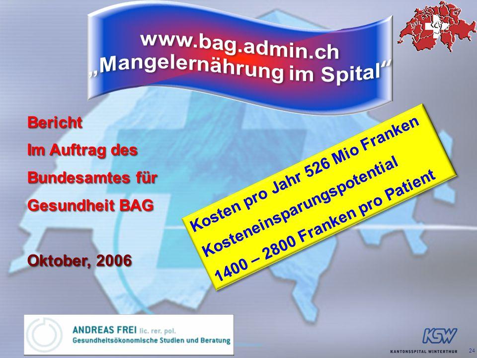 24 Bericht Im Auftrag des Bundesamtes für Gesundheit BAG Oktober, 2006 Bericht Im Auftrag des Bundesamtes für Gesundheit BAG Oktober, 2006