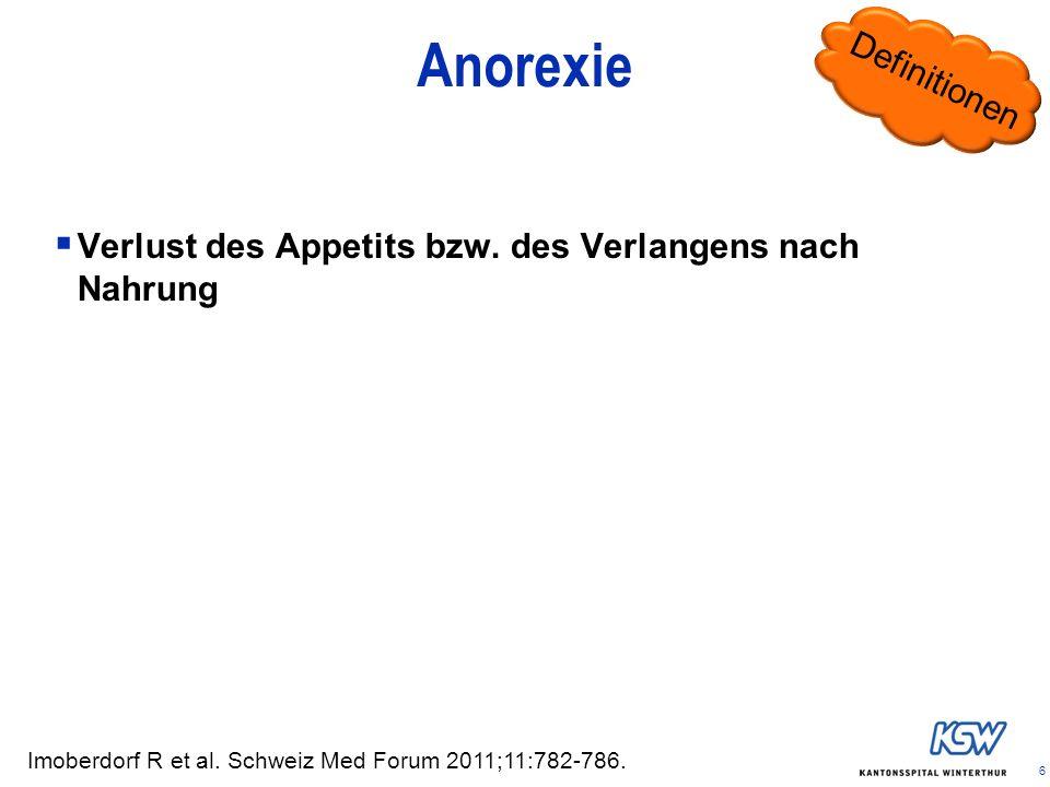 6 Anorexie Verlust des Appetits bzw. des Verlangens nach Nahrung Imoberdorf R et al. Schweiz Med Forum 2011;11:782-786. Definitionen