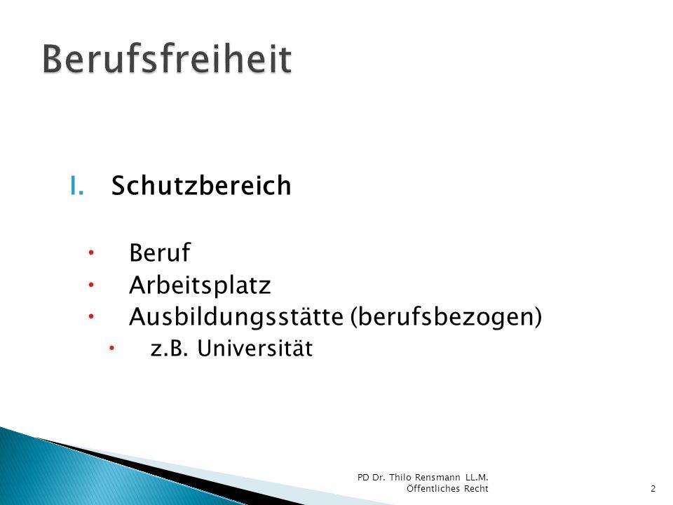 I.Schutzbereich Beruf Arbeitsplatz Ausbildungsstätte (berufsbezogen) z.B. Universität 2 PD Dr. Thilo Rensmann LL.M. Öffentliches Recht
