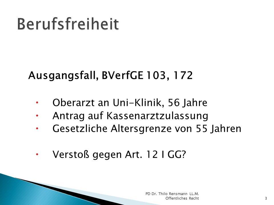 Ausgangsfall, BVerfGE 103, 172 Oberarzt an Uni-Klinik, 56 Jahre Antrag auf Kassenarztzulassung Gesetzliche Altersgrenze von 55 Jahren Verstoß gegen Ar