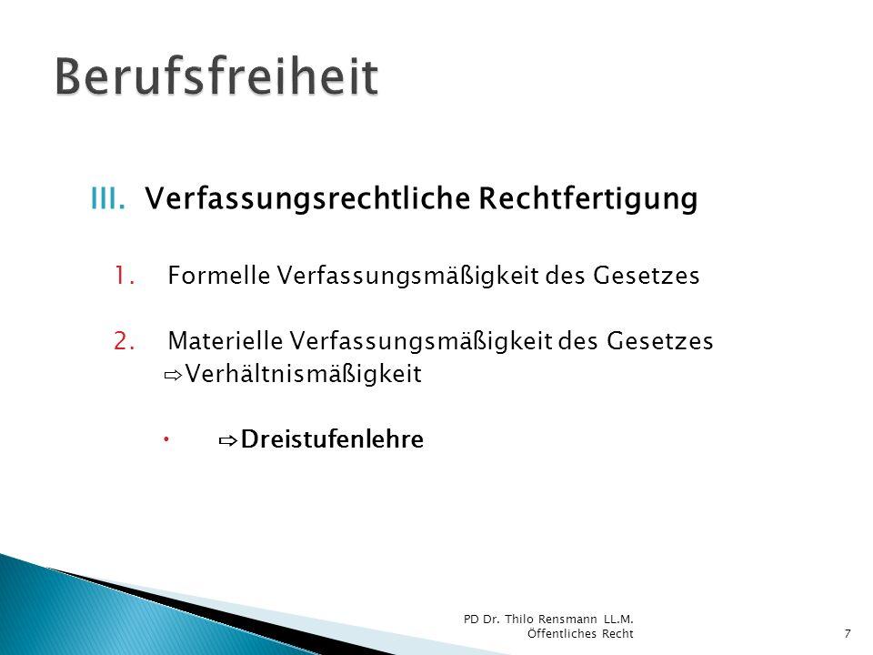 Dreistufenlehre 1.Berufsausübungsregelung Wie.2.Subjektive Berufswahlregelung Ob.