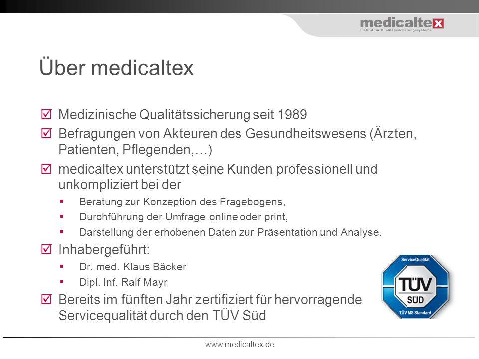 Über medicaltex Medizinische Qualitätssicherung seit 1989 Befragungen von Akteuren des Gesundheitswesens (Ärzten, Patienten, Pflegenden,…) medicaltex