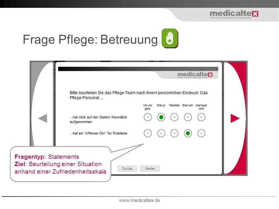 Frage Pflege: Betreuung www.medicaltex.de Fragentyp: Statements Ziel: Beurteilung einer Situation anhand einer Zufriedenheitsskala