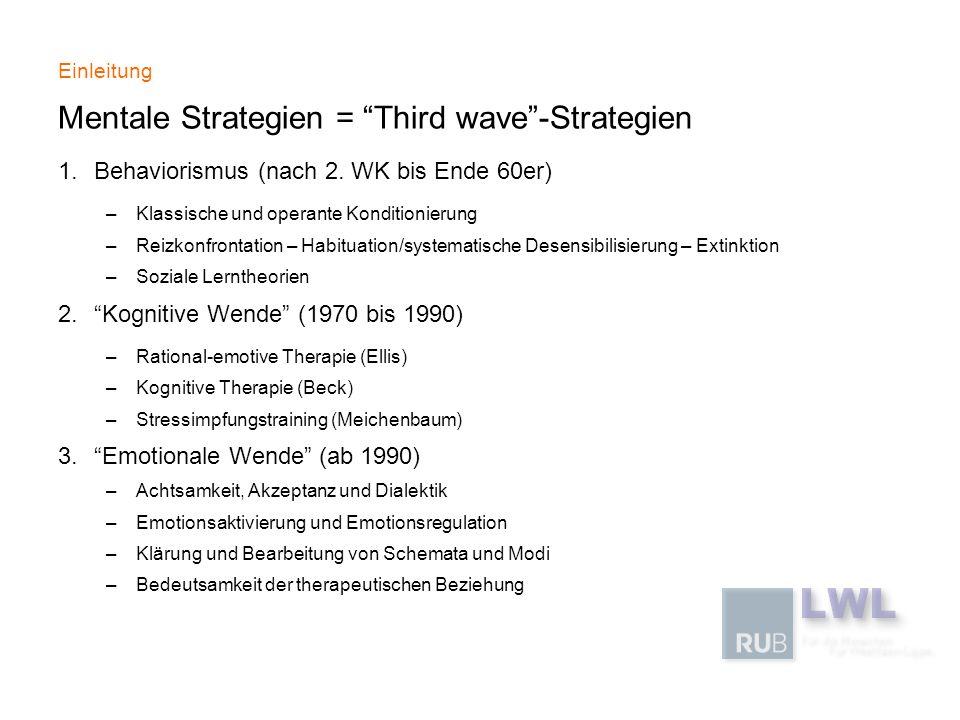Einleitung Mentale Strategien = Third wave-Strategien 1.Behaviorismus (nach 2. WK bis Ende 60er) –Klassische und operante Konditionierung –Reizkonfron