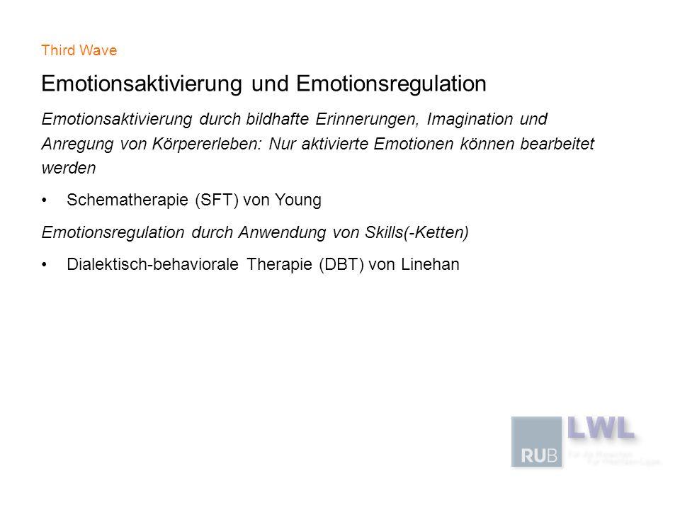 Third Wave Emotionsaktivierung und Emotionsregulation Emotionsaktivierung durch bildhafte Erinnerungen, Imagination und Anregung von Körpererleben: Nu