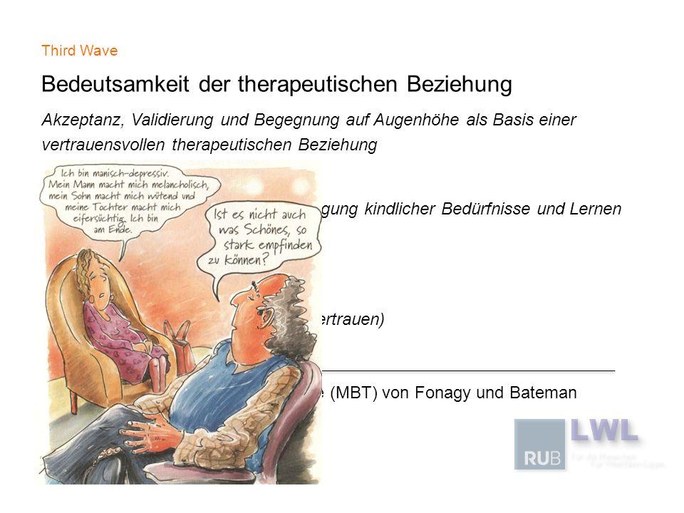 Third Wave Bedeutsamkeit der therapeutischen Beziehung Akzeptanz, Validierung und Begegnung auf Augenhöhe als Basis einer vertrauensvollen therapeutis