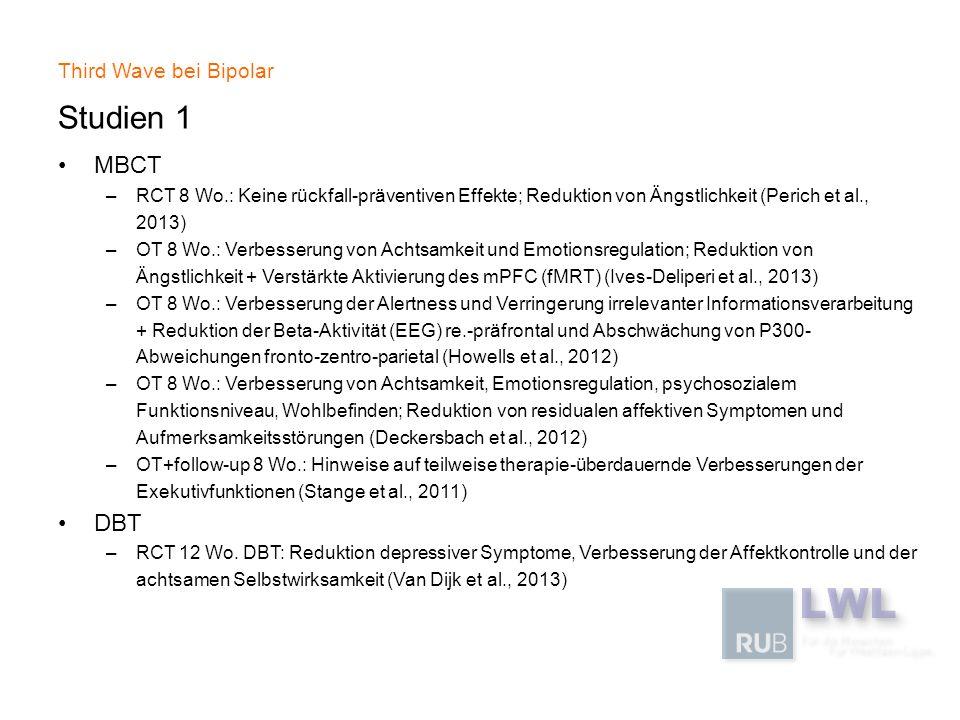 Third Wave bei Bipolar Studien 1 MBCT –RCT 8 Wo.: Keine rückfall-präventiven Effekte; Reduktion von Ängstlichkeit (Perich et al., 2013) –OT 8 Wo.: Ver
