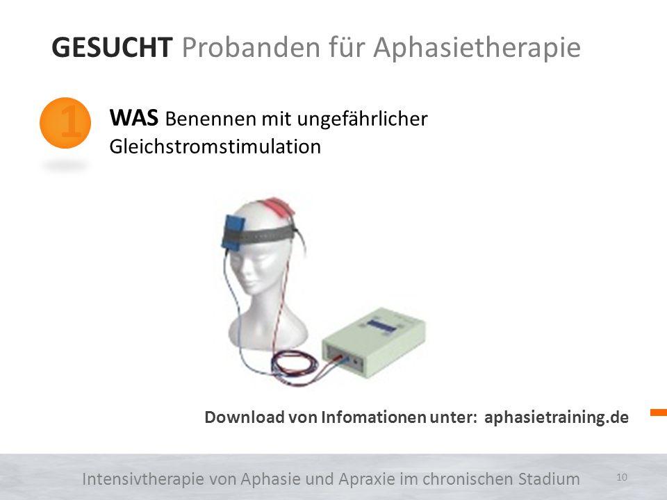GESUCHT Probanden für Aphasietherapie 1 2 3 WAS Benennen mit ungefährlicher Gleichstromstimulation WARUM Gleichstromstimulation kann die Effekte einer