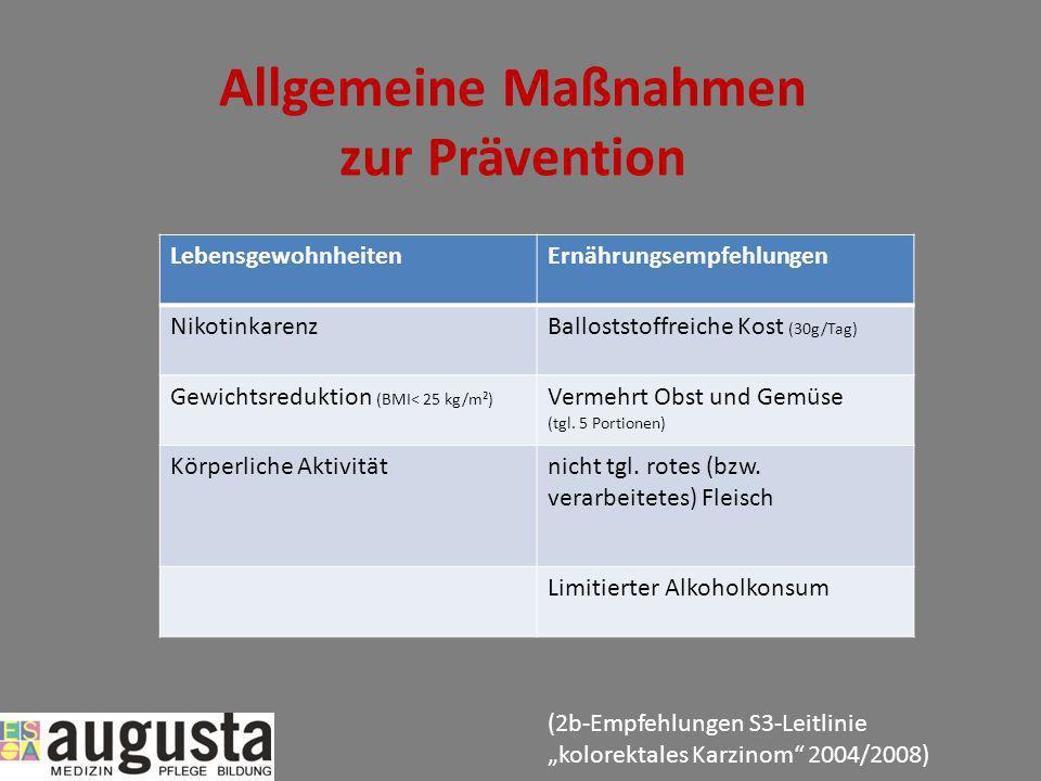 Allgemeine Maßnahmen zur Prävention LebensgewohnheitenErnährungsempfehlungen NikotinkarenzBalloststoffreiche Kost (30g/Tag) Gewichtsreduktion (BMI< 25