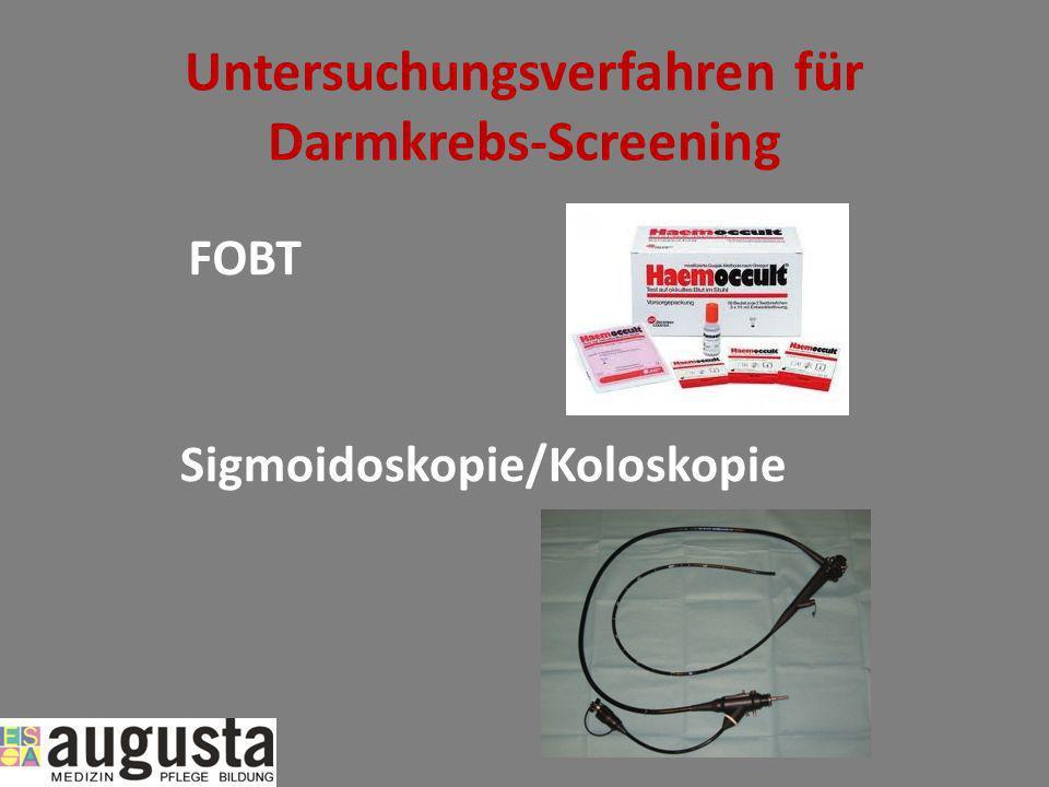 Untersuchungsverfahren für Darmkrebs-Screening FOBT Sigmoidoskopie/Koloskopie