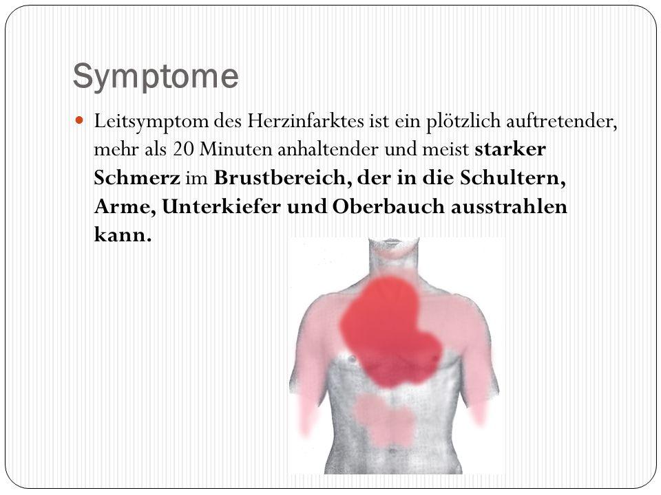 Symptome Leitsymptom des Herzinfarktes ist ein plötzlich auftretender, mehr als 20 Minuten anhaltender und meist starker Schmerz im Brustbereich, der
