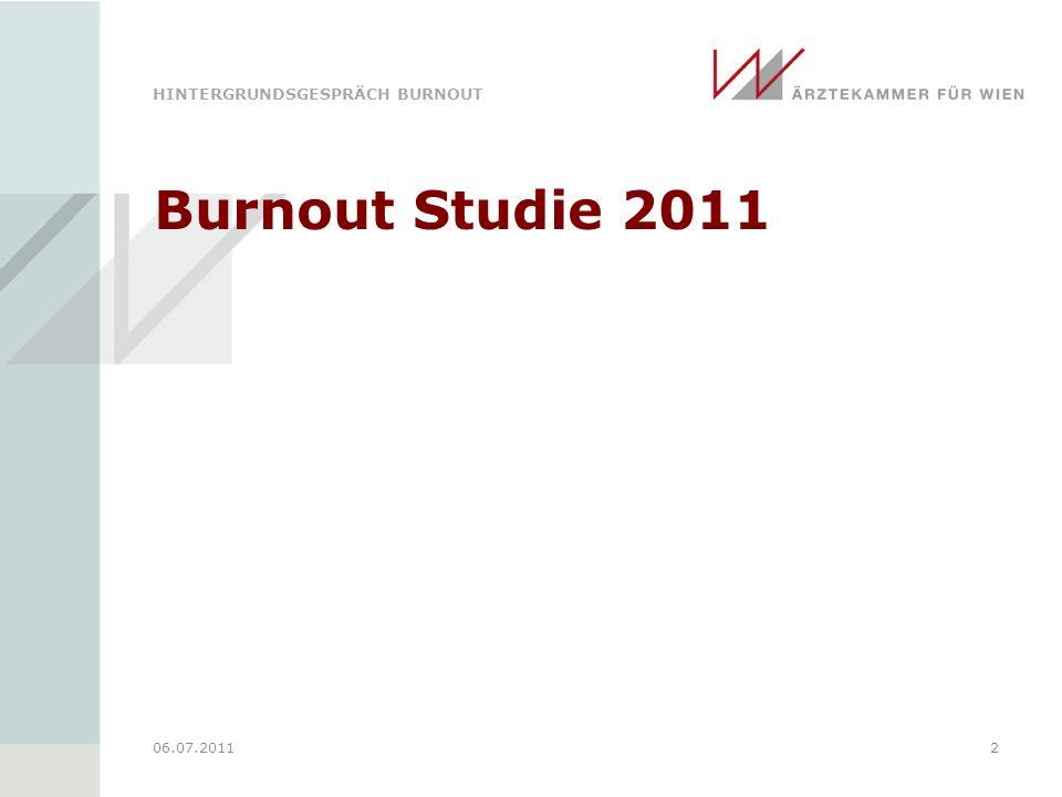 HINTERGRUNDSGESPRÄCH BURNOUT 06.07.20112 Burnout Studie 2011