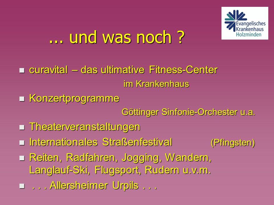 ... und was noch ? n curavital – das ultimative Fitness-Center im Krankenhaus im Krankenhaus n Konzertprogramme Göttinger Sinfonie-Orchester u.a. n Th