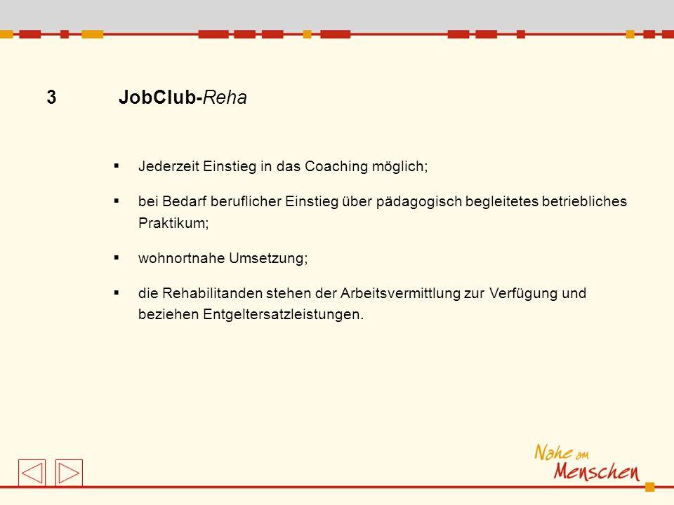 3 JobClub-Reha Jederzeit Einstieg in das Coaching möglich; bei Bedarf beruflicher Einstieg über pädagogisch begleitetes betriebliches Praktikum; wohno