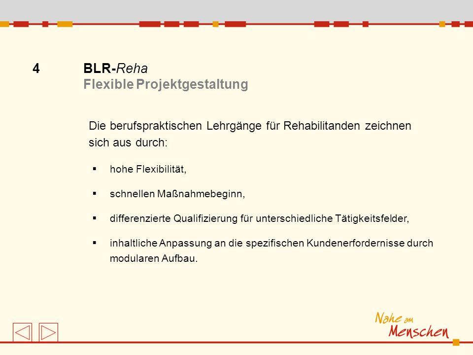 4 BLR-Reha Flexible Projektgestaltung Die berufspraktischen Lehrgänge für Rehabilitanden zeichnen sich aus durch: hohe Flexibilität, schnellen Maßnahm